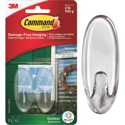 Command Medium Adhesive Outdoor Window Hook (2-Pack)