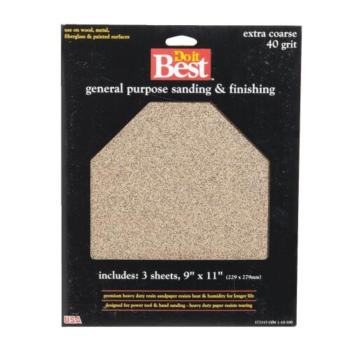 Do it Best General Purpose 9 In. x 11 In. 40 Grit Extra Coarse Sandpaper (3-Pack)