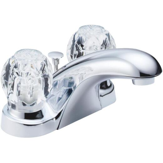 Delta Foundations Chrome 2-Handle Knob 4 In. Centerset Bathroom Faucet with Pop-Up